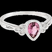 Pink Tourmaline Diamond Cocktail Ring Estate 14 Karat Gold Fine Vintage Jewelry Sz 9