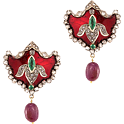 Red Enamel Emerald Ruby Diamond Earrings Vintage 14 Karat Gold 925 Sterling Silver Estate Jewelry