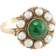 Jadeite Jade Cultured Pearl Cocktail Ring Vintage 9 Karat Yellow Gold Estate Jewelry