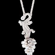 Diamond Lizard Drop Necklace Vintage 14 Karat White Gold Rock Crystal Pearl Estate