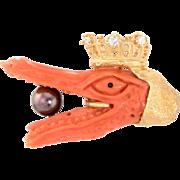 Crowned Alligator Tie Tac Pin Vintage Coral Diamond 18 Karat Gold Estate Brooch Mens
