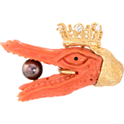 Crowned Alligator Tie Tac Pin Vintage Coral Diamond 18 Karat Gold Estate Brooch Mens
