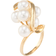 Cultured Pearl Cluster Cocktail Ring Vintage 14 Karat Yellow Gold Estate Fine Jewelry