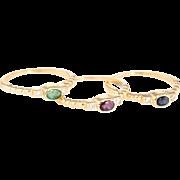 Set of 3 Stacking Rings Vintage 18 Karat Yellow Gold Diamond Emerald Ruby Sapphire