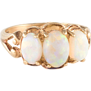 Three Opal Ring Vintage 14 Karat Yellow Gold Estate Fine Jewelry Pre Owned Heirloom