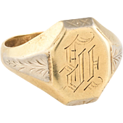 Antique Deco Ostby Barton Mens Signet Ring Vintage 14 Karat Yellow Gold Estate 11.25