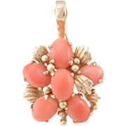 Coral Cluster Pendant Vintage 14 Karat Yellow Gold Estate Fine Jewelry Heirloom