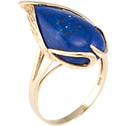 Lapis Lazuli Cocktail Ring Vintage 14 Karat Yellow Gold Estate Fine Jewelry Heirloom