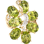 Large Peridot Diamond Cocktail Ring Vintage 14 Karat Yellow Gold Estate Fine Jewelry