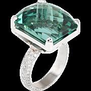 Green Quartz Diamond Large Cocktail Ring Vintage 18 Karat White Gold Estate Jewelry
