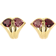 Bulgari Pink Tourmaline Heart Earrings 18 Karat Yellow Gold Signed Jewelry Vintage