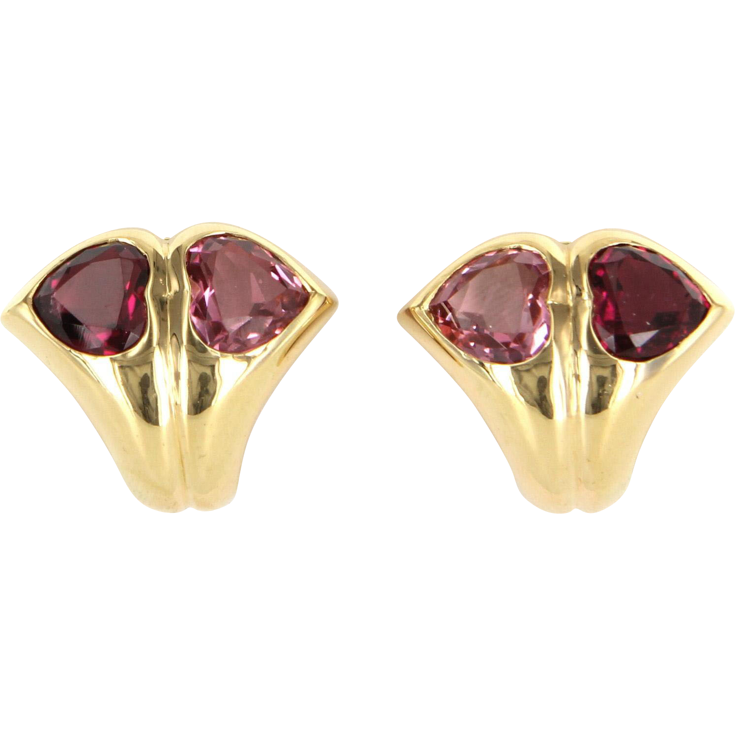 Bulgari Pink Tourmaline Heart Earrings 18 Karat Yellow Gold Signed Jewelry Vintage