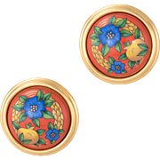 Hermes Orange Enamel Round Clip Earrings Flowers Yellow Gold Plate Signed