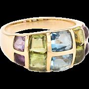 Rainbow Gemstone Sugarloaf Cocktail Ring Vintage 14 Karat Yellow Gold Band Jewelry
