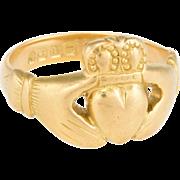 Vintage Art Deco Irish Claddagh Ring 18 Karat Yellow Gold Estate Fine Celtic