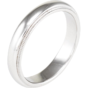 Tiffany & Co Mens Sz 8 4mm Milgrain Wedding Band Ring 950 Platinum Estate Jewelry