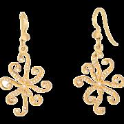 Cathy Waterman Diamond Drop Earrings Estate 22k Yellow Gold Fine Jewelry