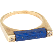1970s Lapis Lazuli Diamond Bar Ring Vintage Fine Jewelry Stacking Estate Jewelry 14 Karat Gold