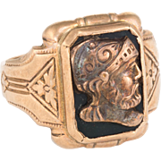 Vintage Art Deco Mens Intaglio Roman Soldier Ring 10 Karat Rose Gold Jewelry