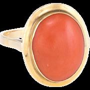 Mediterranean Coral Cocktail Ring Vintage 18 Karat Yellow Gold Estate Jewelry