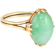 Jade Cocktail Ring Vintage 14 Karat Yellow Gold Estate Fine Jewelry Heirloom Jewelry