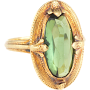 Allsopp Bros Green Tourmaline Cocktail Ring Vintage Art Deco 14 Karat Yellow Gold Jewelry