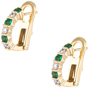 Emerald Diamond Shrimp Earrings Vintage 18 Karat Yellow Gold Estate Fine Jewelry