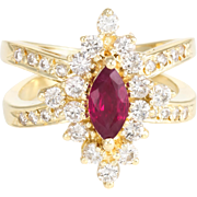 Natural Ruby Diamond Cocktail Ring Vintage 14 Karat Yellow Gold Estate Fine Jewelry