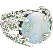 Natural Opal Tsavorite Garnet Cocktail Ring Vintage 18 Karat White Gold Estate Fine