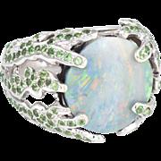 Natural Opal Tsavorite Garnet Cocktail Ring Vintage 18 Karat White Gold Estate Fine