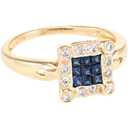 French Cut Sapphire Diamond Square Cocktail Vintage 14 Karat Yellow Gold Jewelry