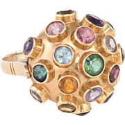 Sputnik Cocktail Ring Vintage 14 Karat Yellow Gold Gemstone Estate Domed Jewelry