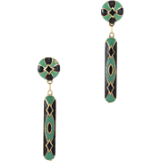 Vintage Art Deco Black & Green Enamel Drop Earrings Estate 14 Karat Yellow Gold Jewelry