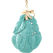 Carved Turquoise Flower Pendant Vintage 14 Karat Yellow Gold Estate Fine Jewelry