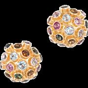 Sputnik Round Dome Earrings Vintage 14 Karat Yellow Gold Gemstone Estate Jewelry