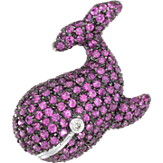 Whale Pendant Brooch Pink Sapphire Diamond Vintage 14 Karat White Gold Estate Jewelry