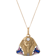 Antique Art Deco Egyptian Revival Pharaoh Diamond Enamel Pendant 20 Karat Gold Jewelry