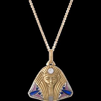 Antique Art Deco Egyptian Revival Pharaoh Diamond Enamel Pendant 20 Karat Gold Jewelry