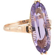 Vintage Art Deco Amethyst Cocktail Ring Vintage 18 Karat Yellow Gold Estate Fine Jewelry