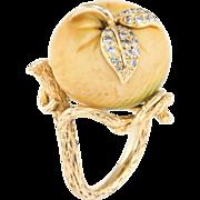 Apple Diamond Cocktail Ring Vintage 18 Karat Yellow Gold Estate Fine Jewelry Heirloom