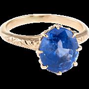 Vintage Art Deco Natural Sapphire Engagement Ring Fleur de Lis 10 Karat Yellow Gold
