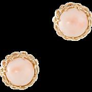 Angel Skin Coral Round Earrings Vintage 14 Karat Yellow Gold Estate Fine Jewelry