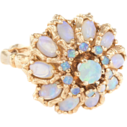 Opal Bamboo Cocktail Ring Dome Vintage 14 Karat Yellow Gold Estate Fine Jewelry
