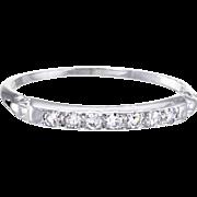 Vintage Art Deco Diamond Band Ring Vintage 18 Karat White Gold Estate Fine Jewelry