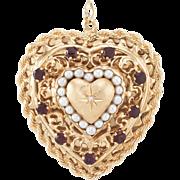 Large Heart Pendant Locket Vintage 14 Karat Yellow Gold Garnet Cultured Pearl Estate Jewelry