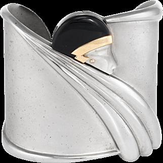 Erte Tempest Cuff Bracelet Diamond Onyx MOP Limited Edition 131/600 Estate CFA Sterling Silver & 14 Karat Gold
