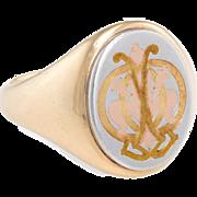 Cartier Mens Signet Ring Vintage 14 Karat Yellow Gold Platinum Estate Religious 9.25