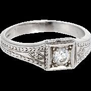 Vintage Art Deco 900 Platinum Diamond Band Ring Estate Fine Jewelry Heirloom 7.5 Etched