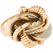 Vintage Tri Gold Cluster Leaf Cocktail Ring Vintage 18 Karat Gold Estate Fine Jewelry