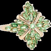 Tsavorite Green Garnet Cocktail Ring Estate 10 Karat Yellow Gold Vintage Fine Jewelry